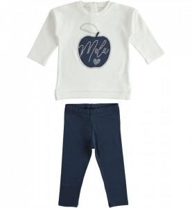 Constum fetiță IDO, cu bluză albă și colant bleumarin