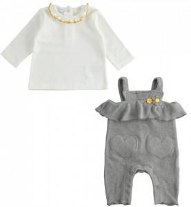Costum cu salopetă și bluziță, pufos și calduros pentru bebe fetiță, IDO