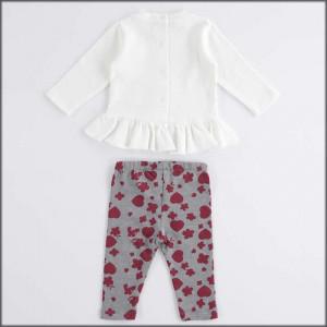 Costum de 12 luni de fetita cu colant si bluza alb cu rosu IDO