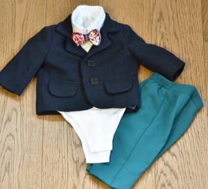 Costum de botez cu pantaloni verzi 5 piese