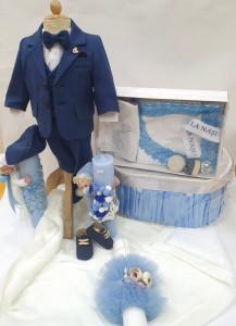 Costum de botez pentru baietei bebelusi albastru cu dungi