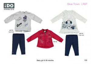 Costum din bumbac de fetiță, cu bluză și colant, iDO