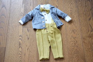 Costumde baiat cu pantalon galben din in 5 piese