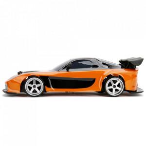 Masina Jada Toys Fast and Furious Mazda RX-7 Drift cu anvelope si telecomanda