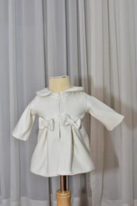 Palton din stofa ivoire cu fundite