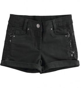 Pantaloni scurti fete Ido negru cu paiete