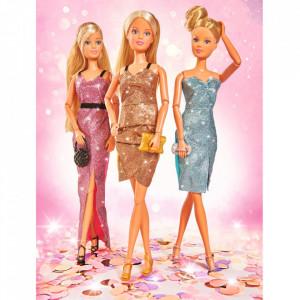 Papusa Simba Steffi Love 29 cm Glitter Style cu 3 rochii