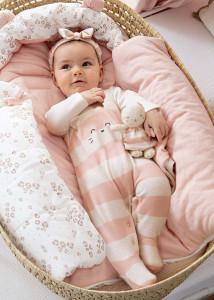 Pijama ECOFRIENDS roz cu bentiță pentru nou-născut fată, Mayoral