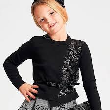 Pulovar tricotat din bumbac negru cu paiete IDO