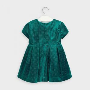 Rochie Mayoral de catifea verde cu lame auriu