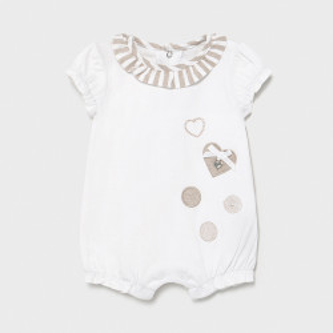 Salopeta nou nascut de fetita alb cu bej Mayoral