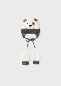 Set căciulă cu ursuleț și mănuși pentru nou-născut băiat, Mayoral