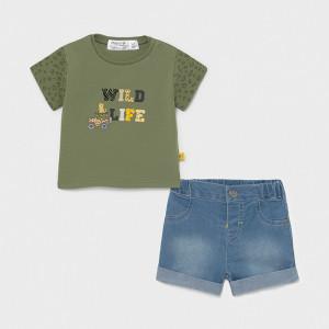 Set din tricou si pantalon pentru naou nascut baiat Mayoral