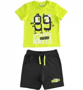 Set diverse culori cu tricou si pantalon scurt din bumbac IDO