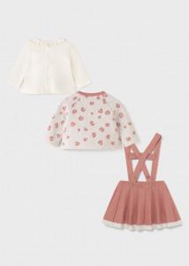 Set ECOFRIENDS fusta, bolero și tricou tricot pentru nou-născut fată, Mayoral