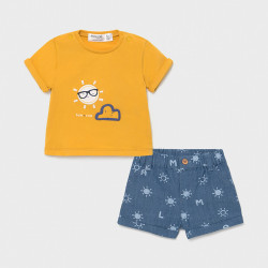 Set tricou si pantalon scurt pentru bebe baiat Mayoral
