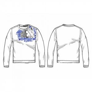Tricou cu mânecă lungă, alb și albastru cerneală, din bumbac, Guess