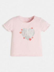 Tricou de fetite pe fond alb si roz cu inimioara Guess