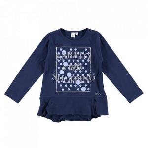Bluza bleumarin de fete cu volanase din bumbac de fete