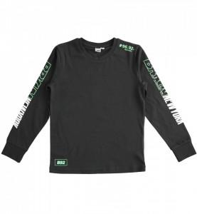 Bluză neagră cu mânecă lungă din bumbac de băieți, iDO