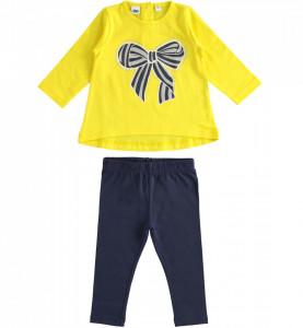 Costum cu bluză galbenă și colant din bumbac, iDO