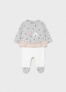 Costum cu bluză matlasată pentru nou-născut fată, Mayoral