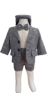Costum pentru botez cu bleomarin , gri si pantalon scurt, 6 piese