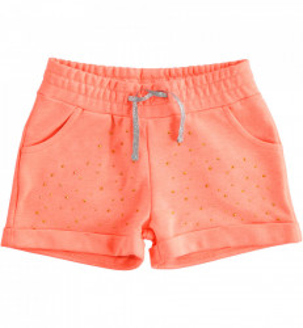 Pantalon scurt din bumbac portocaliu cu paiete IDO