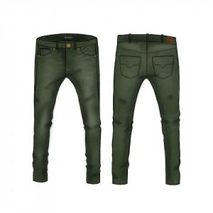 Pantaloni Guess tercot negru si verde skini