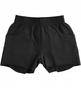 Pantaloni negrii de fete din bumbac cu buzunare paietate