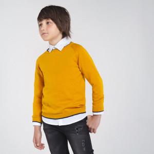 Pulovar tricotat galben de baiat din bumbac