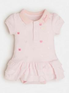 Rochiță roz cu bady cu inimioare, pentru nou nascută, Guess