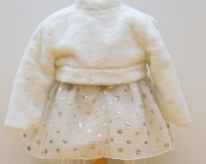 Set rochita cu bolero din blanita pentru botez