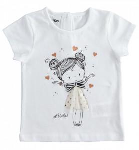 Tricou alb de fetita din bumbac IDO