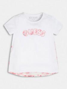 Tricou alb Guess cu scris brodat roz