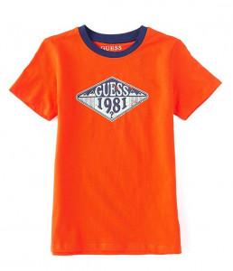 Tricou guess din bumbac pe alb si portocaliu de baieti