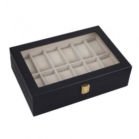 Cutie pentru 12 ceasuri din lemn negru mat