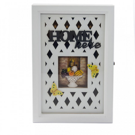 "Cutie pentru chei ""Home is here"" cu tablou, fluturi, si 6 agatatoare"