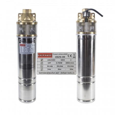 Pompa submersibila Kratos 4SKM-100, 0.75 CP, 41l/min, Turbina dubla, Cupru