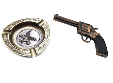 Set cadou scrumiera si bricheta in forma de Pistol