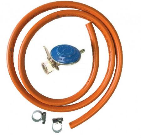 Set (kit) regulator presiune (ceas) pentru butelii cu gaz + furtun 2 m + 2 coliere