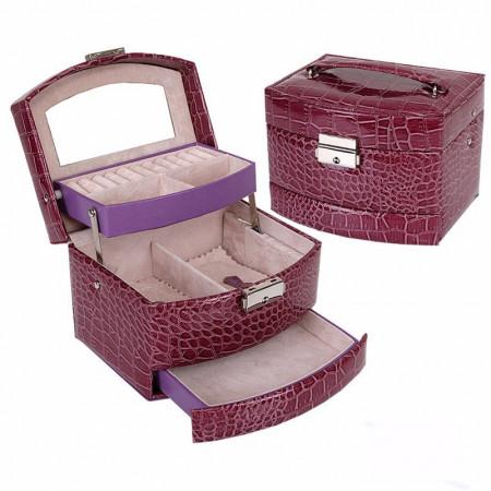 Caseta bijuterii Crocodile Style Purple