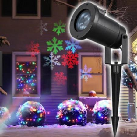 Proiector metalic lumini laser cu fulgi de zapada colorati