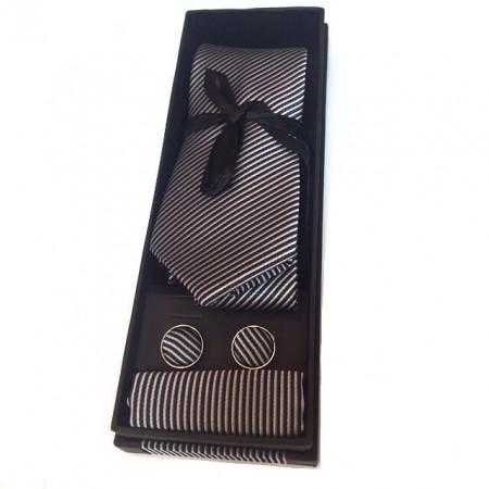 Set lux barbati Cravata cu butoni si batista Gri