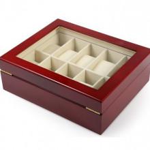 Cutie eleganta din lemn rosu pentru depozitare 10 ceasuri