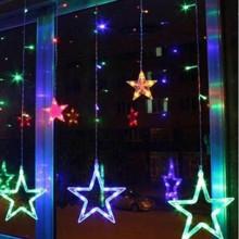 Instalatie Craciun,perdea,fulgi si stele,joc de lumini multicolor,3 m