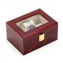 Cutie eleganta din lemn rosu pentru depozitare 3 ceasuri
