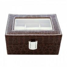 Cutie neagra, pentru 3 ceasuri, cu imprimeu crocodil