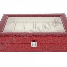 Cutie pentru 12 ceasuri cu imprimeu crocodil de culoare visinie