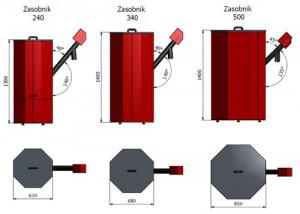 Rezervor peleti 340 litrii (aprox. 200kg)